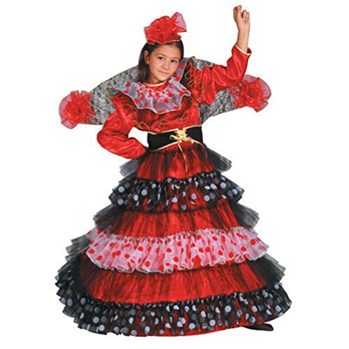 [Girl's Flamenco Dancer Costume - Size Toddler 4] (Non Stop Dancing Costumes)