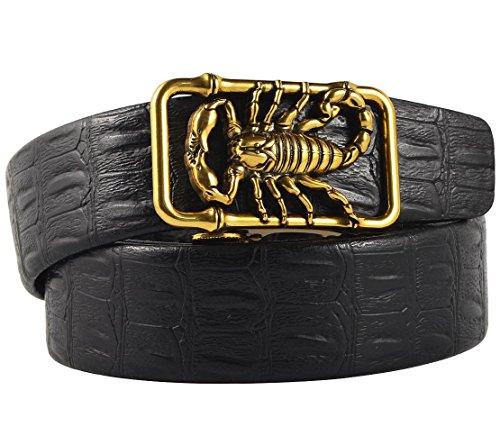 Men's Microfiber Leather Ratchet Belt, Gold Color Scorpion, Pant Sizes 43