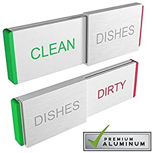 Glide Signs DISHWASHER Magnet CLEAN DIRTY Sign Indicator | Elegant Aluminum Kitchen Gadgets for Dishes Cleaning Home Organizer for Dish Washer Magnetic and Adhesive Backing Works on ALL Dishwashers
