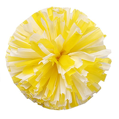 [2PCS 12'' Cheering Squad Cheerleading Pom Poms for Alive Invigorating Sports Party by NNBX (Yellow+white)] (Cheering Squad Costume)