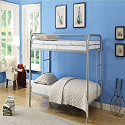 Durable Silver Metal Tube Twin Bunk Bed
