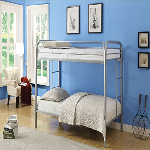 Durable Silver Metal Tube Twin Bunk Bed (Allentown Comforter)