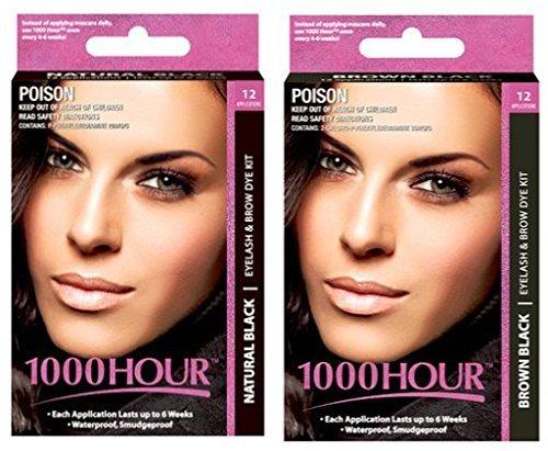 Combo Pack! 1000 Hour Eyelash & Brow Dye / Tint Kit Permanent Mascara (Black & Brown Black) by 1000Hour