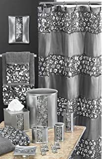 Charmant Popular Bath 5 Piece Sinatra Silver Shower Curtain And Resin Bath Accessory  Set