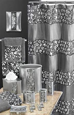 Popular Bath 5 Piece Sinatra Silver Shower Curtain and Resin Bath Accessory Set