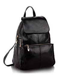 Greeniris Ladies Genuine Leather Casual Backpack School Backpack for Women Shoulder Bag Women's Backpack Fashion Black