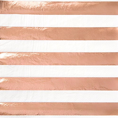 Unique Industries 53472 Striped Napkins Paper Drink, Rose (Pink Roses Luncheon Napkins)