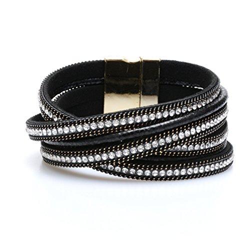 YOYOMA Leather Bracelets for Women and Men,Magnetic Wrap Bangle Bracelet Multilayer Cuff Bracelet with Crystal (Black)