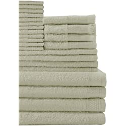 Baltic Linen Company Multi Count 100-Percent Cotton Complete 24-Piece Towel Set, Thyme Green