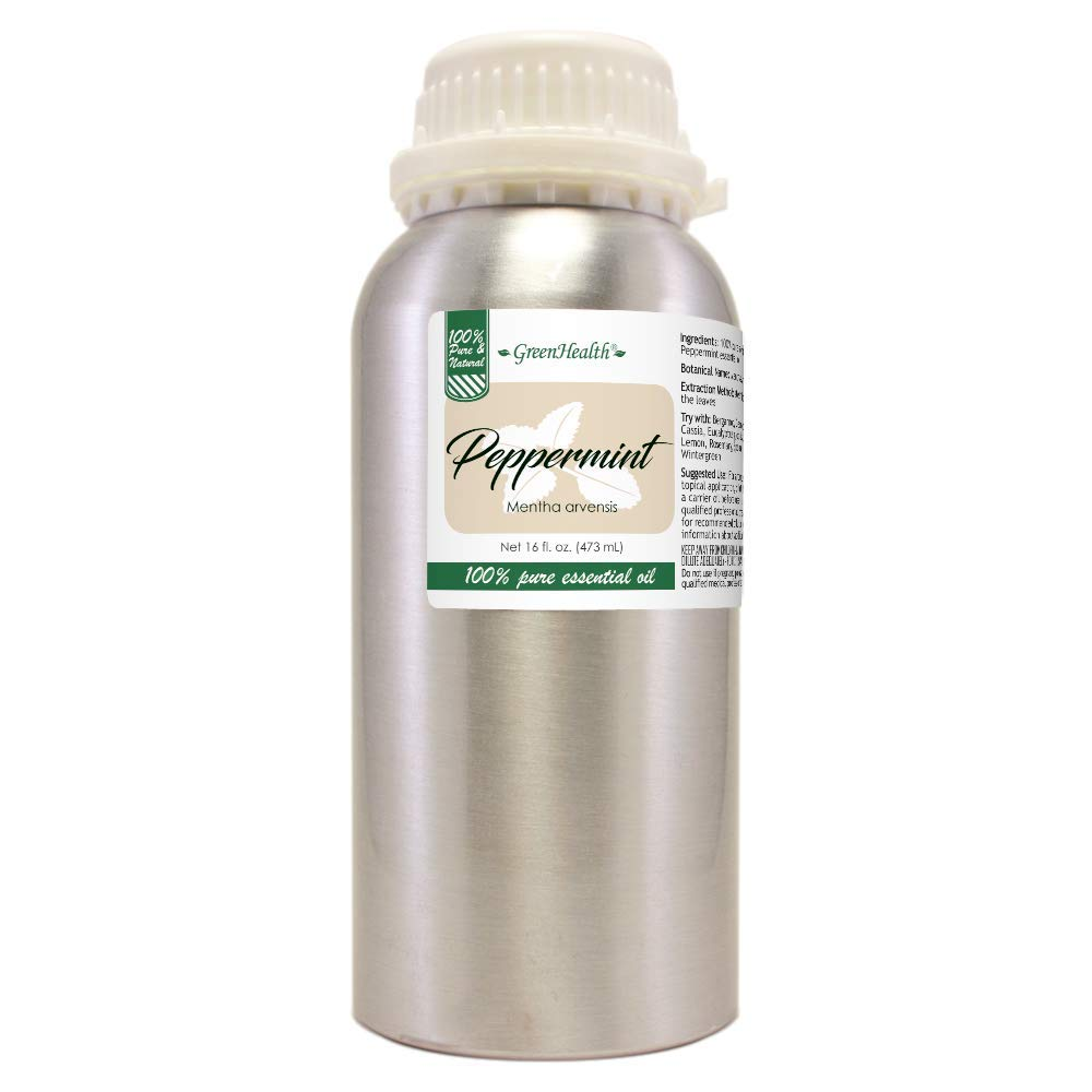 16 fl oz Peppermint Essential Oil (100% Pure & Uncut), Aluminum Bottle - GreenHealth