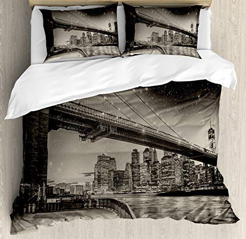 (Twin Size New York 4 Piece Bedding Set Duvet Cover Set, Summer Night in Manhattan Brooklyn Bridge Park River Waterfront Modern City, Comforter Cover Bedspread Pillow Cases with Zipper)