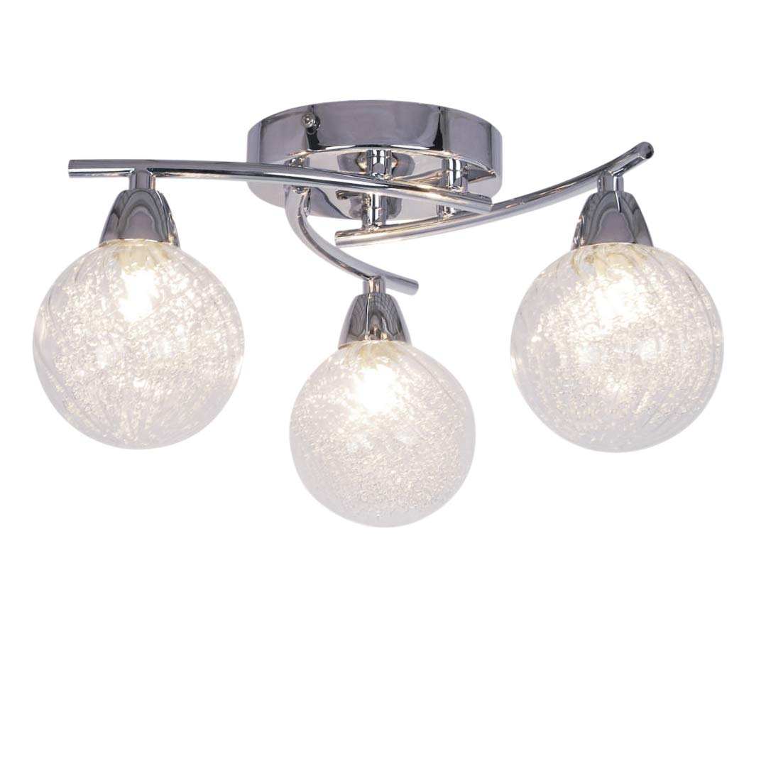 AUROLITE BOLLA Modern 3 Lights LED Semi Flush Ceiling Light, Globe Shaped Glass Shade, Free LED G9 Bulbs Included, 12W, Ideal for Dinning Room, Bedroom and Living Room (Straight, Cool White 4000K) [Energy Class A+]