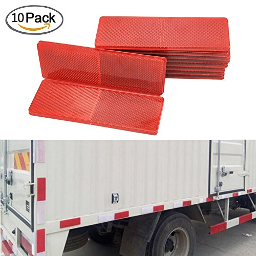 Car Reflector Sticker, Big Ant Red Rectangular Truck Reflective Strong Adhesive High Reflective - Works for Cars, Trailer, Motorcycle, Trucks, Boat, Walls and the Ground (10pcs) (Red Reflector Safety)