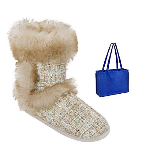 Dearfoams Womens Sequined Tweed Boot Toffel Och Presentpåse Champagne