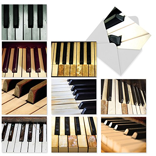 M2016 Keynotes: 10 Assorted Blank All-Occasion Note Cards Feature the Ebony and Ivory Piano Keys, w/White Envelopes - Folded Set