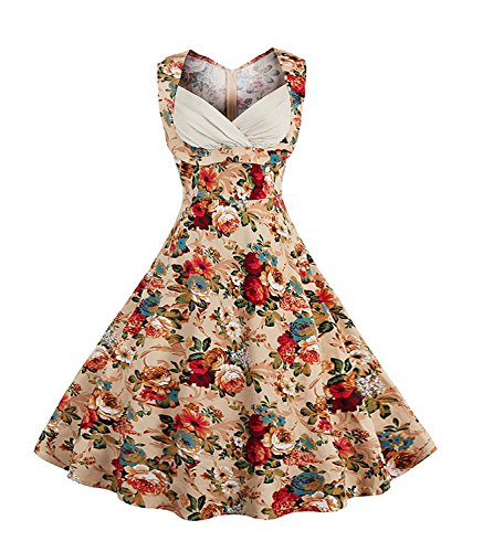 Killreal Women's 1950's Vintage Floral Cut Out V-Neck Casual Party Cocktail Dress Apricot Large