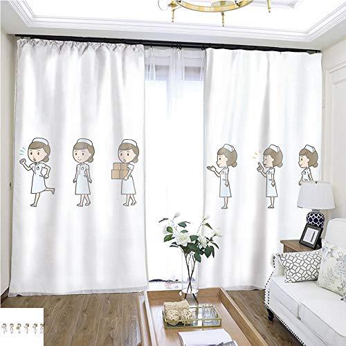 Air Port Screen Diverse Set of Female Nurse EPS10 Vector Format vol 19 W72 x L81 Lemon Linen Loop top Curtain Highprecision Curtains for bedrooms Living Rooms Kitchens etc.