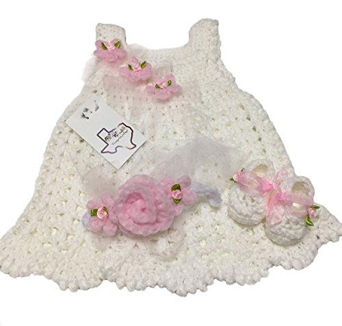 MiC Crafts Handmade Crochet Baby Set 3Pc White ( dress, (Crochet Preemie Booties)