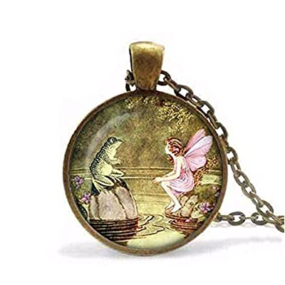 Handcraft colares Fairy and Frog Pendant,Fairy Pendant Necklace, Frog Jewelry: Arts, Crafts & Sewing