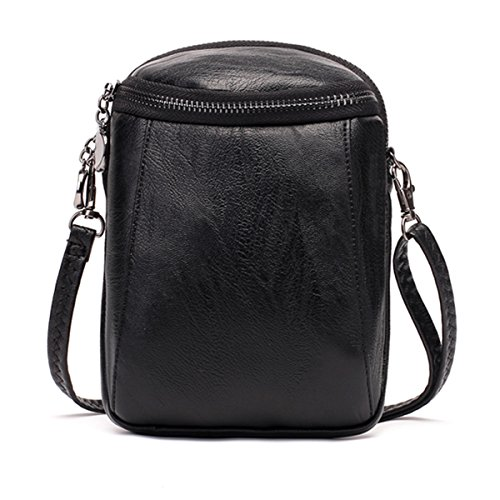 JOSEKO Crossbody Bag for Women, PU Leather Round Little Phone Bag Casual Bucket Bag Vintage Travel Bag for Women Girls Ladies Black 5.12 inch(L) x 2.36 inch(W) x 7.48 (Casual Chic Handbag)