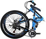 Folding Bike G4 21 Speed Mountain Bike 26 Inches 36 Spoke Wheels Dual Suspension Bicycle (36-Blue)
