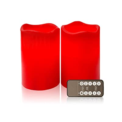 """D4"""" Red Flameless Candles LED Candle Realistic Flickering Electric Candles Battery Operated, Ivory Real Wax LED Pillar Candle Sets (Red, Set of 2): Home Improvement"""
