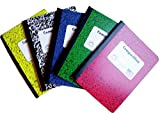 Norcom College Ruled 100 Sheets Composition Notebooks 5-Pack - Green, Red, Yellow and Blue, Black Marble (Variety)