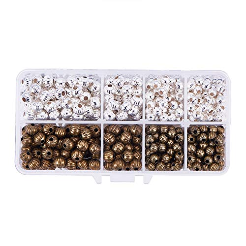 PH PandaHall About 540pcs 6mm 8mm Iron Corrugated Beads Bicone Metal Spacer Beads for Necklaces Bracelets Jewelry Making, Silver & Antique Bronze ()