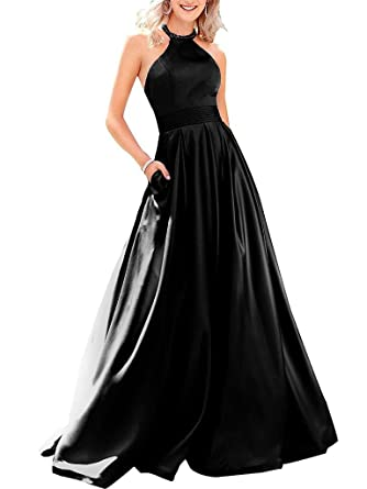 BBCbridal Womens Long Satin Evening Dresses Halter Open Back Beaded Prom Gowns Party Dress with Pockets