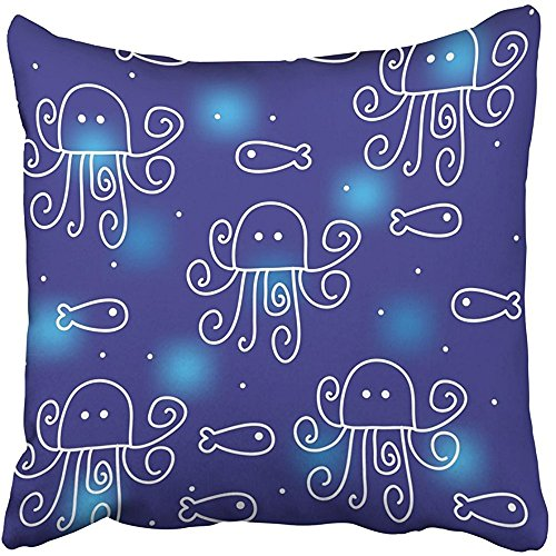 Curve Decorative Hood (Throw Pillow Covers Print 18 x 18 Inch Blue Whimsical with Funny Octopuses Animal Baby Child Childhood Creative Curve Cute Square Zipper Polyester Home Sofa Decorative Case)