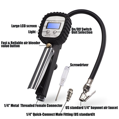 Exwell Tyre Pressure Gauge Digital Pressure Gauge Checker Digital Tire Inflator Vehicles Automatic Reading Air Gauge with Backlight LCD Display Flexible Hose 150 PSI for Cars Bikes Motorcycles