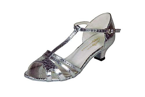 74f5c46d2 Tappers & Pointers Girls Ladies Silver Ballroom Dance Shoes Elena (1 UK,  Elena)