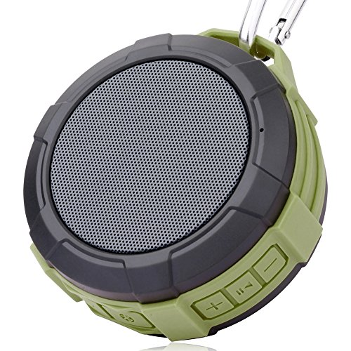 Wireless Bluetooth Speaker Waterproof Shower Speaker,Xergur Super Portable Speaker with Micro SD Card Slot, Built-In Mic,Enhanced Bass,Durable Design for iPhone, iPad, Samsung, Nexus (Green)