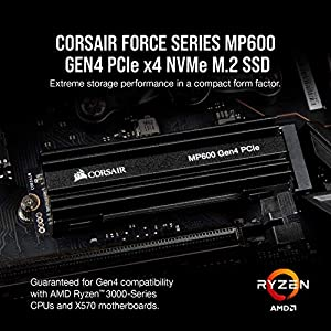Corsair Force Series MP600 1TB Gen4 PCIe X4 NVMe M.2 SSD, Up to 4,950 MB/s (CSSD-F1000GBMP600)