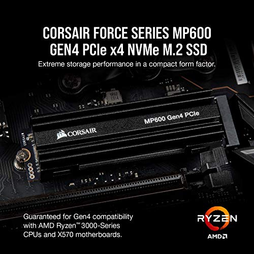 Corsair Force Series MP600 1TB Gen4 PCIe X4 NVMe M.2 SSD, Up to 4,950 MB/s (CSSD-F1000GBMP600) Bundle with AMD Ryzen 7 3700X 8-Core, 16-Thread Unlocked Desktop Processor with Wraith Prism LED Cooler