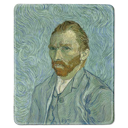 dealzEpic - Art Mousepad - Natural Rubber Mouse Pad with Famous Fine Art Painting of Self-Portrait,1889 by Vincent Van Gogh - Stitched Edges - 9.5x7.9 inches