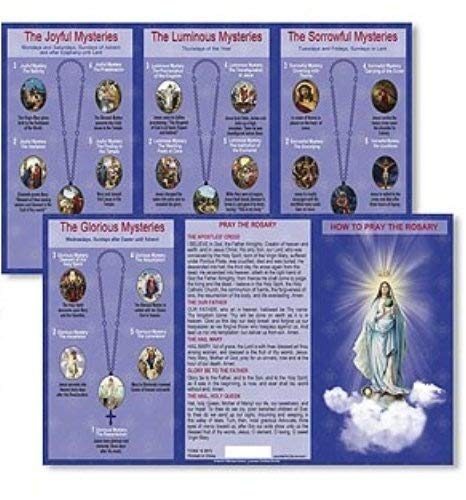 Prayer Cards Rosary (Autom Hail Mary Our Father Prayers How to Pray the Rosary Tri Fold Instructions Pocket Holy Card)
