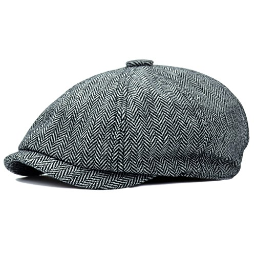 HowYouth Men's Classic Herringbone Tweed Wool Blend Newsboy Flat Cap Gatsby Hat (Light Grey) - Great Gatsby Men Costumes