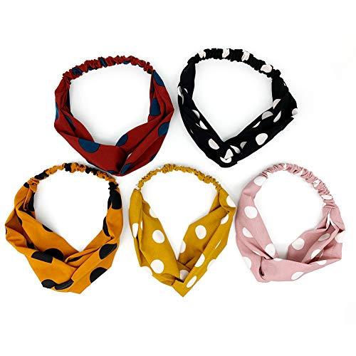 (5 Pack Headbands for Women, Yofa Big Polka Dot Style Criss Cross Head Wrap Hair Band, Two Fabric Materials )