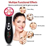 Face Lift M achine, E M S Facial Massager, R-F Skin Tightening M achine, High F requency Facial M achine, 4 in 1 Portable Rechargeable Facial Massager with Color Light
