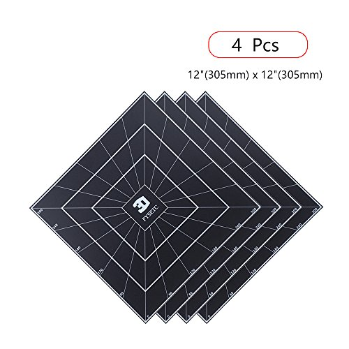 FYSETC 3D Printing Build Surface, 12'' x 12'' 3D Printing Build Plate Heat Bed Platform Sticker for 3D Printer CR-10 CR-10S Lulzbot TAZ 6 and Other Printer - Pack of 4, Black by FYSETC