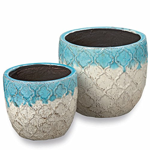 The Beach Chic Planters, Set of 2 , Turquoise Blue And Cream Ombre, Artisinal Rustic Crackle Finished Glaze, Raised Pattern, Distressed Stoneware, Pads, 7 and 8 Inches Diameter, by Whole House Worlds