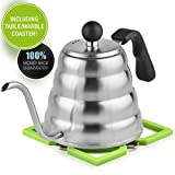 Pour Over Kettle with Silicon Coaster Bonus - Gooseneck Dripper for Tea and Coffee - Brushed Stainless Steel, Ergonomic Designed, 40 Oz/1.2 L