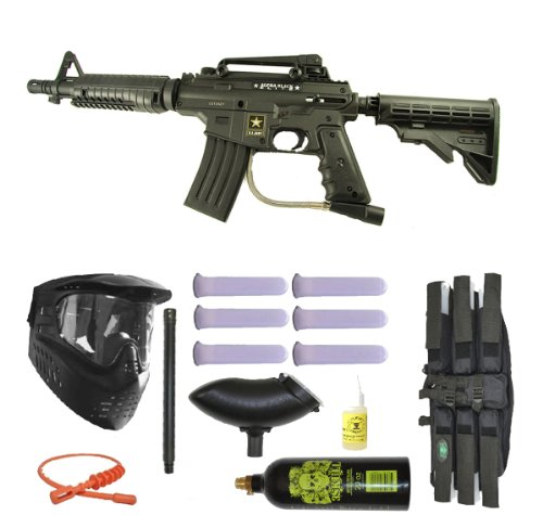 US Army Alpha Black Tactical Paintball Marker Gun 3Skull Super Mega Set