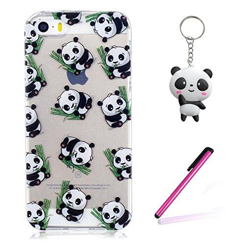 iPhone 5 5S Coque Panda mignon Premium Gel TPU Souple Silicone Transparent Clair Bumper Protection Housse Arrière Étui Pour Apple iPhone 5 5S / SE + Deux cadeau
