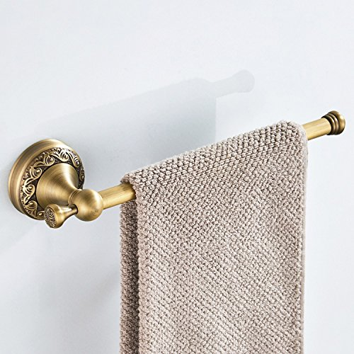 AUSWIND 4-Piece Antique Brass Carved Wall Mounted Bathroom Hardware Set (Toilet Paper holder without cover/Robe Hook/Towel Bar/StraightTowel Rings) by AUSWIND (Image #4)