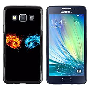 Choque entre el fuego y hielo - Metal de aluminio y de plástico duro Caja del teléfono - Negro - Samsung Galaxy A3