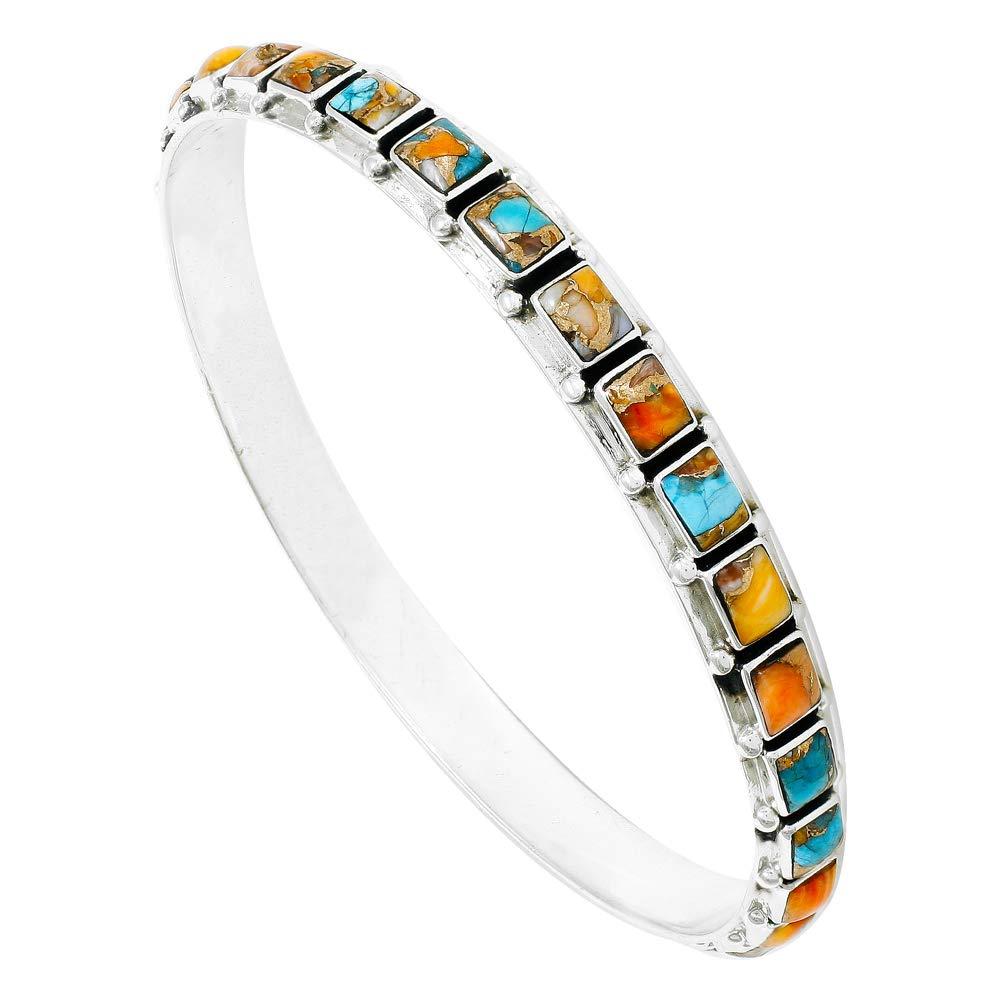 Stackable 925 Sterling Silver Bangle Bracelet Genuine Turquoise Gemstones (Spiny Turquoise)