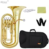 Aklot Bb 4 Valve Euphonium Gold Lacquered Brass Body Stainless Steel Piston with Canvas Case