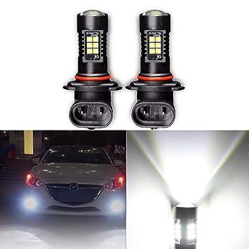 2pcs 9005 HB3 Lámpara de niebla de proyección LED Bombilla 3030 1200lms 21smd de reemplazo para ...